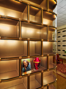 In addition to placement of an urn, the generous niche space with UV light resistant glass fronts and interior concealed LED lighting, allow for a tasteful display of a photograph and personal memento.