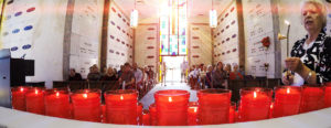 Each person buried at Calvary Catholic Cemetery is remembered at the Month's Mind Mass celebrated in the Chapel of the Resurrection once each month, and a candle is lit for each person interred during the previous month.