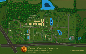 Topographical Map of Calvary Catholic Cemeter at the intersection of U.S. Highway 19 and 118th Avenue, Clearwater, Florida.